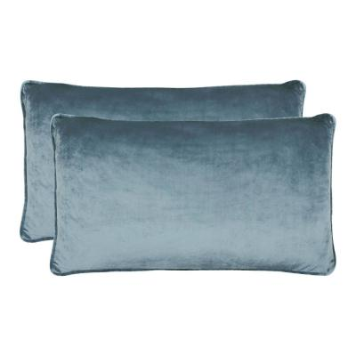 Lucas Collection Navy Modern Velvet 14 in. x 24 in. Decorative Lumbar Pillow (Set of 2)