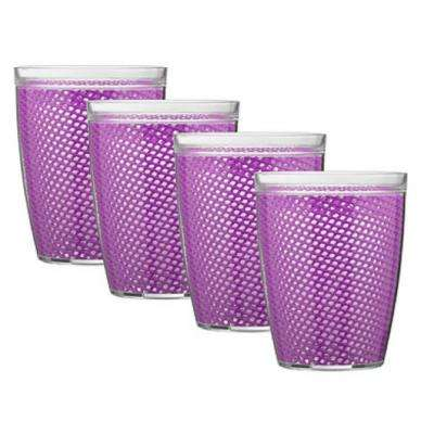 Fishnet 14 oz. Purple Insulated Drinkware (Set of 4)