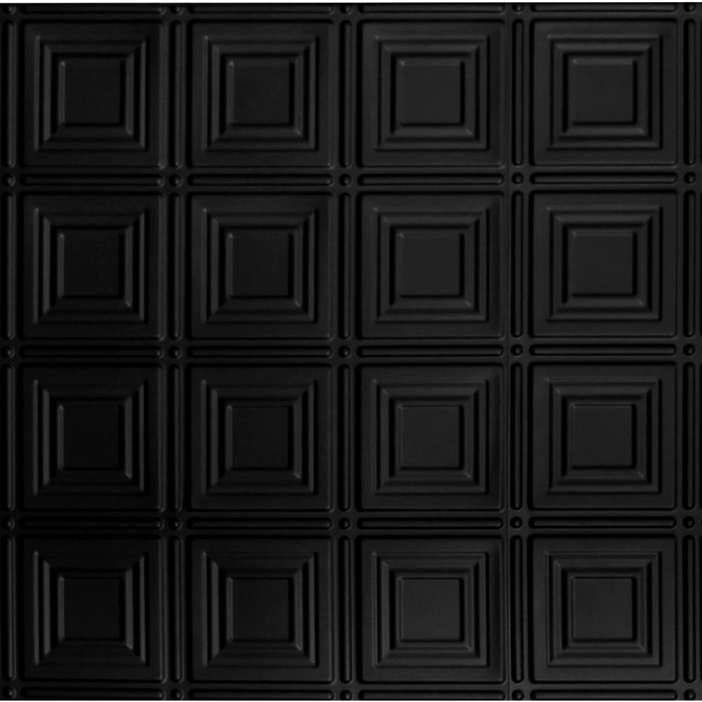 Global Specialty Products Dimensions 2 ft. x 2 ft. Matte Black Tin Ceiling Tile for Refacing in T-Grid Systems