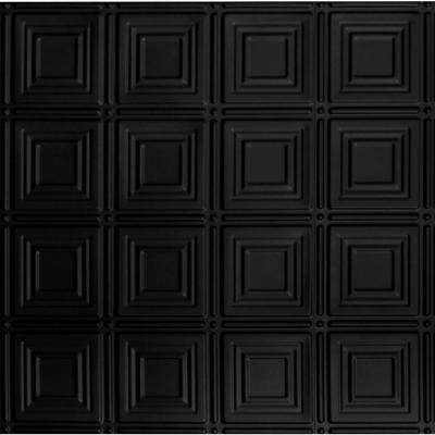 Dimensions 2 Ft X Matte Black Tin Ceiling Tile