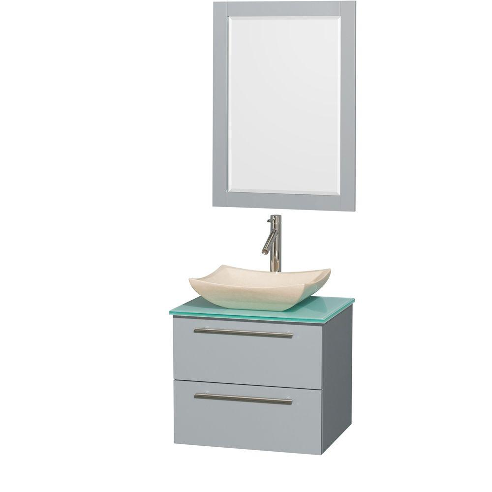 Wyndham Collection Amare 24 in. W x 19.5 in. D Vanity in Dove Gray with Glass Vanity Top in Green with Ivory Basin and 24 in. Mirror