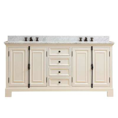 Greenwich 72 in. W x 22 in. D Vanity in Antique White with Marble Vanity Top in White with White Basins