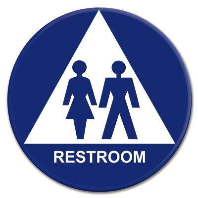 12 in. Blue Circle and Triangle Plastic Unisex Sign