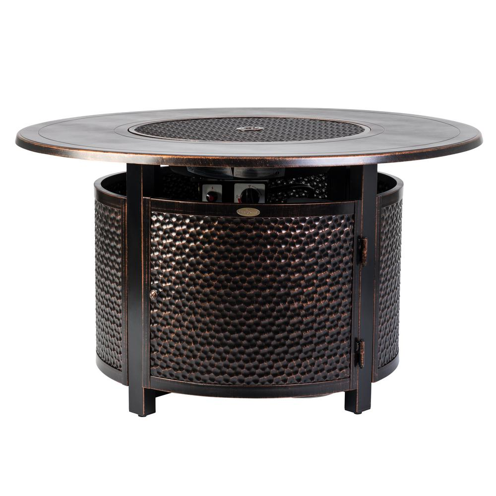 Fire Sense Leeward 44 in. x 24 in. Round Aluminum Propane Fire Pit Table in Antique Bronze with Vinyl Cover