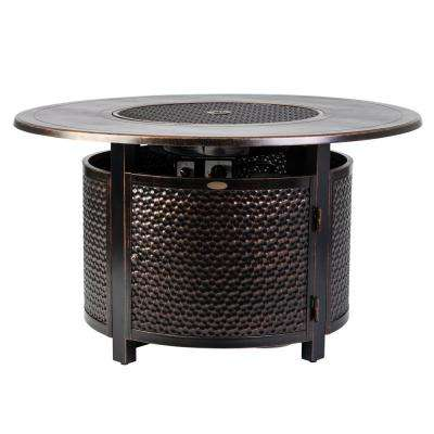 Leeward 44 in. x 24 in. Round Aluminum Propane Fire Pit Table in Antique Bronze with Vinyl Cover