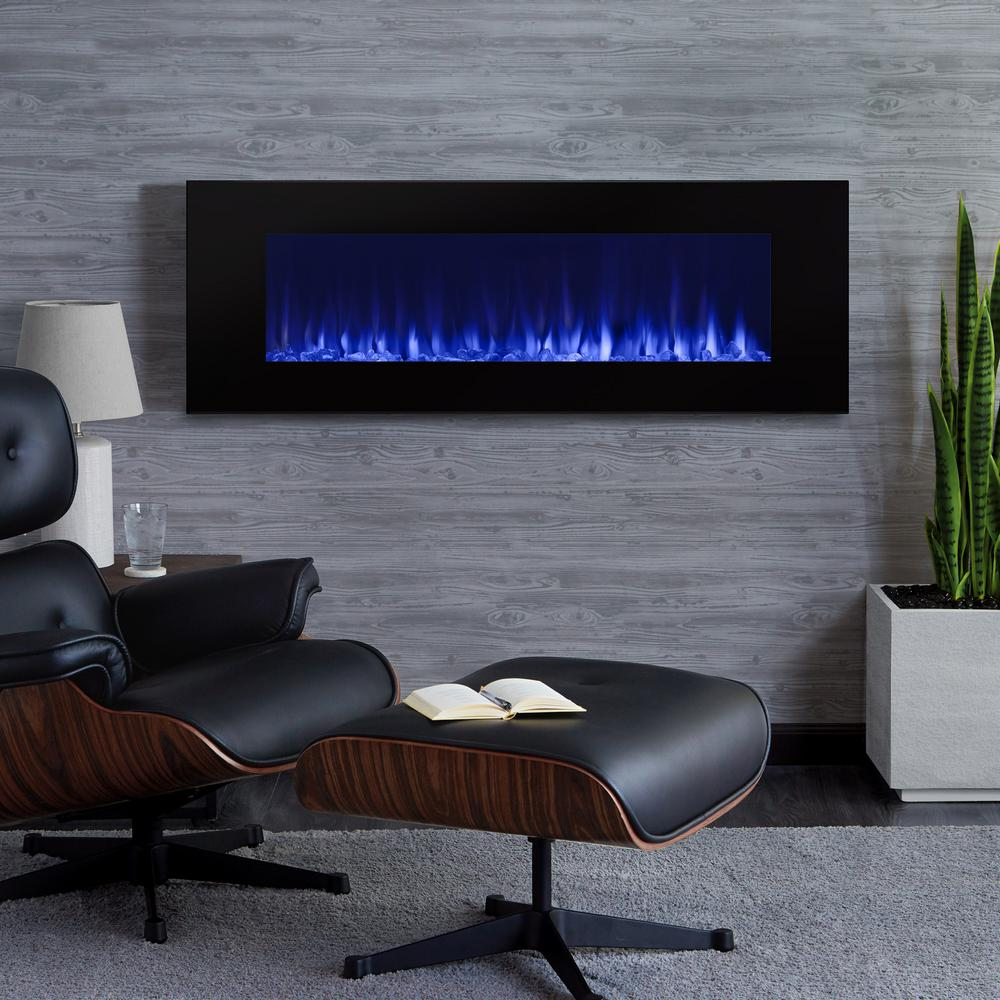 Turn up the fire into stylish and sophisticated art to any room in your home with Real Flame DiNatale Wall-Mount Electric Fireplace in Black.