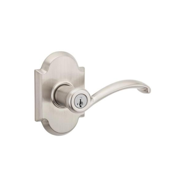 Austin Satin Nickel Entry Door Lever Featuring SmartKey Security with Microban Antimicrobial Technology