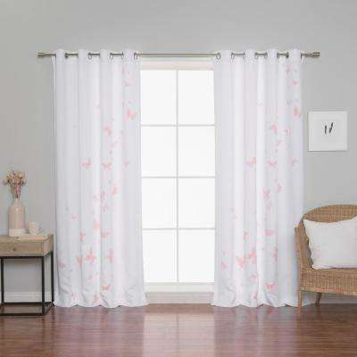Butterfly Curtains 52 in. W x 84 in. L in Pink (2-Pack)