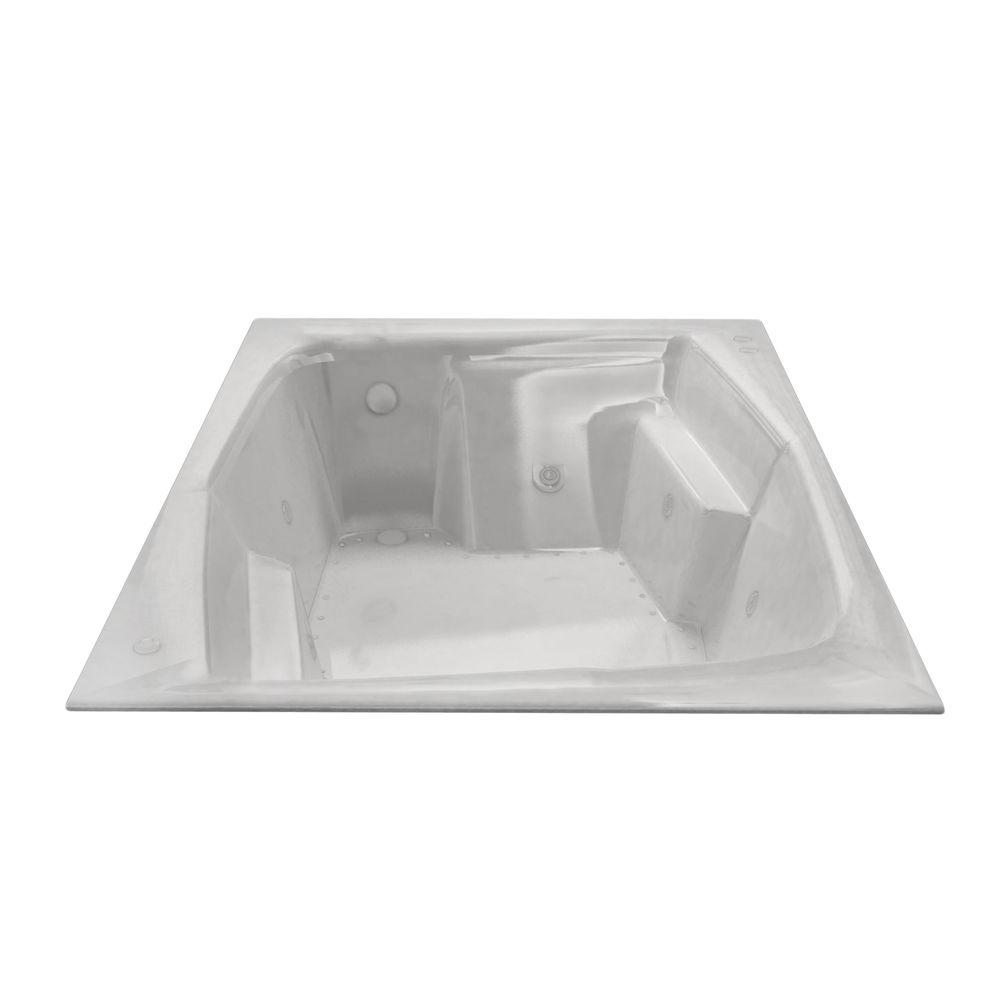 Universal Tubs Amethyst Diamond Series 6 ft. Right Drain Rectangular Drop-in Whirlpool and Air Bath Tub in White