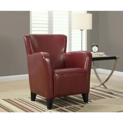 Europa Red Leather-Look Club Arm Chair