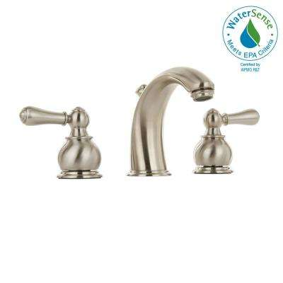 Hampton 8 in. Widespread 2-Handle Mid-Arc Bathroom Faucet in Brushed Nickel with Speed Connect Drain