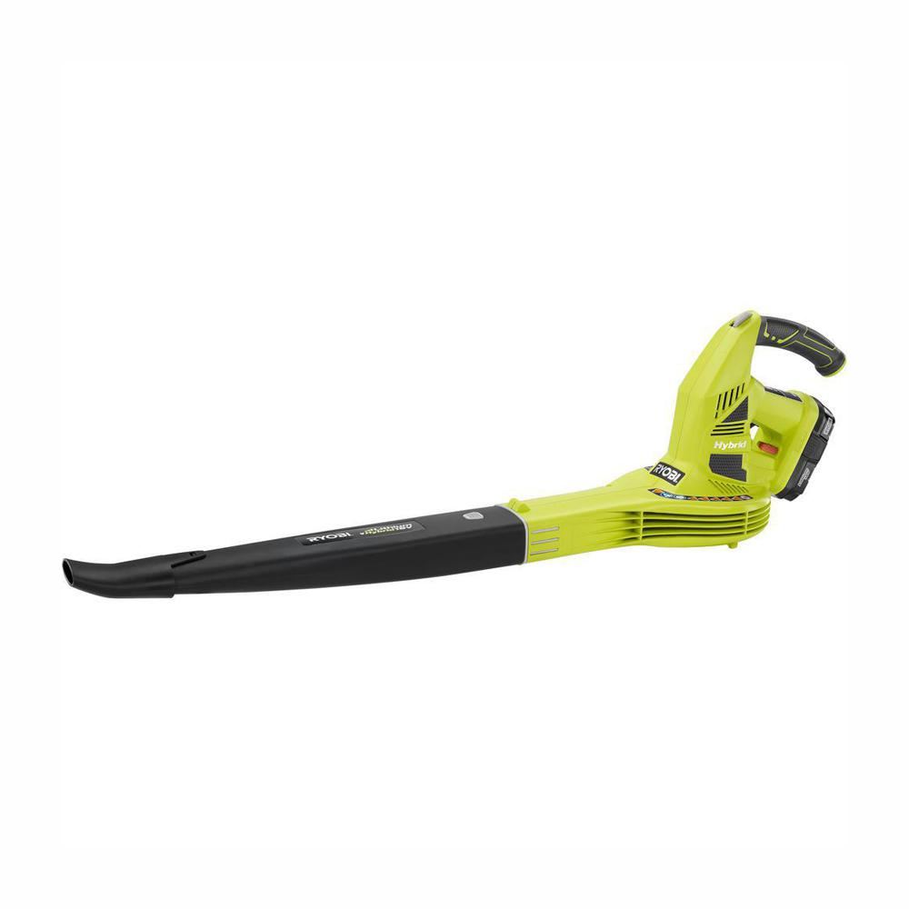 RYOBI Reconditioned ONE+ 150 MPH 200 CFM 18-Volt Lithium-Ion Hybrid Leaf Blower/Sweeper 1.3 Ah Battery and Charger Included