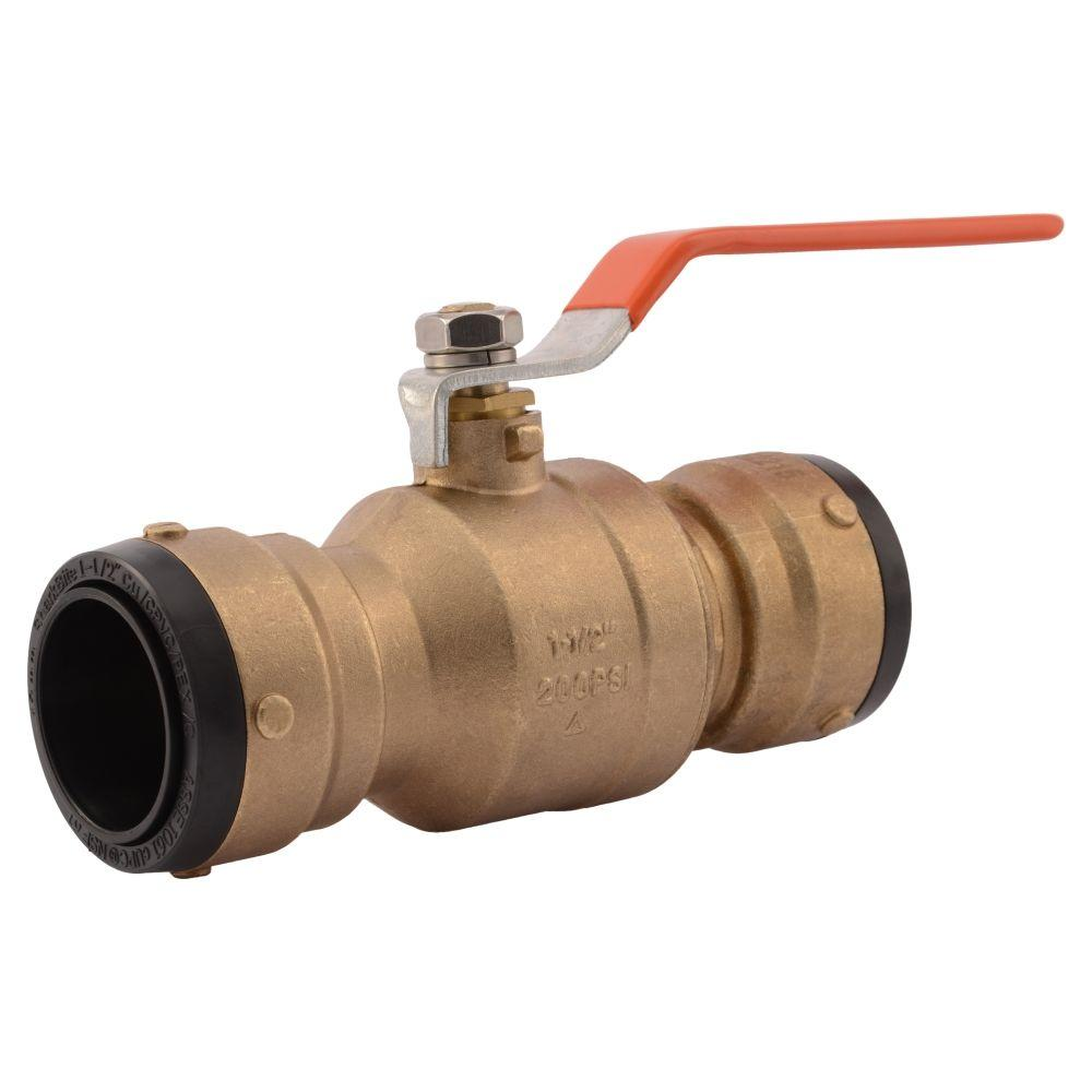 Sharkbite in brass push to connect ball valve