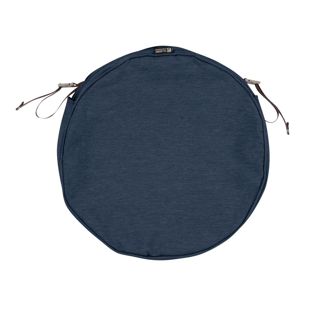 Classic Accessories Montlake Fade Safe Heather Indigo 18 In. Round Outdoor  Seat Cushion Cover