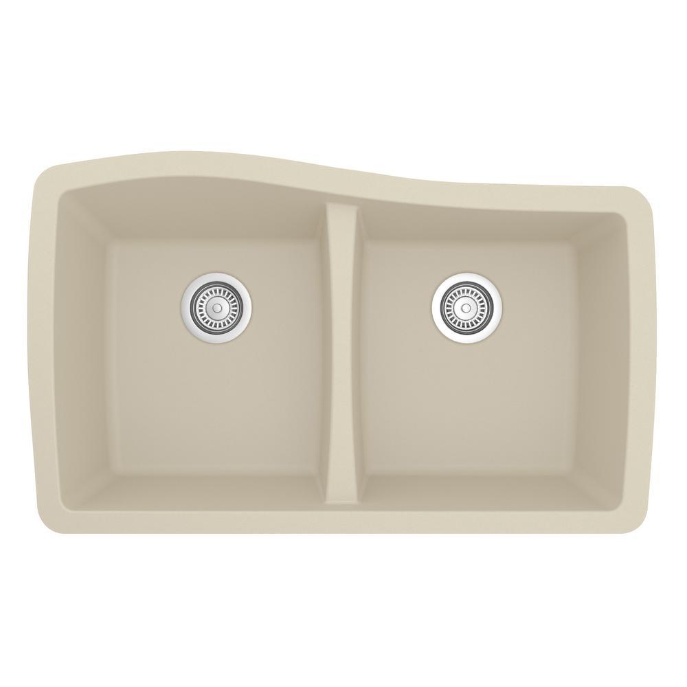 Undermount Quartz Composite 33 in. 50/50 Double Bowl Kitchen Sink in Bisque