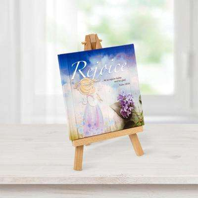 Tabletop Multi-Color Canvas Home Decor Rejoice Picture with Easel