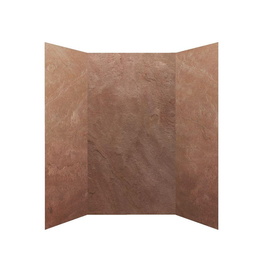 null SoterraSlate 36 in. x 36 in. x 72 in. 3 Panel Shower Surround in Rustic-DISCONTINUED