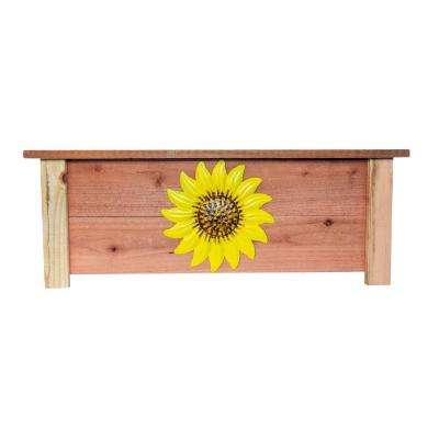 18 in. W x 32 in. L x 12 in. H Redwood Window Box Planter with Sunflower Design