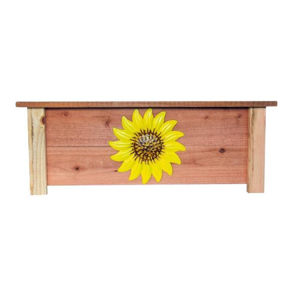 32 in. x 18 in. Natural Redwood Finish Wood Window Box