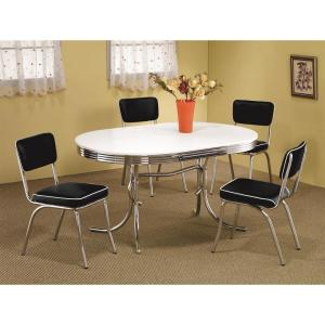 Black and Chrome Retro Side Chairs with Cushion (Set of 2)