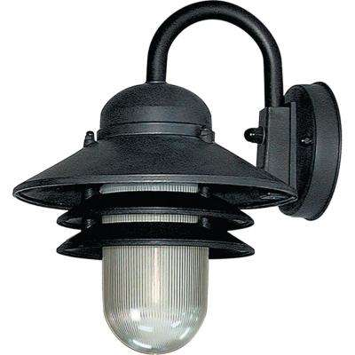 1-Light Black Polycarbonate Outdoor Wall Lantern Sconce Wall Mount Sconce