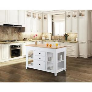 Design Element Medley White Kitchen Island with Slide Out ...
