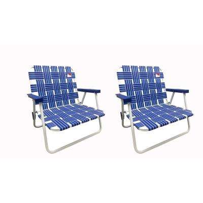 Blue Low Profile Reinforced Steel Powder Coated Webbed Folding Lawn/Camp/Beach Chair (2-Pack)