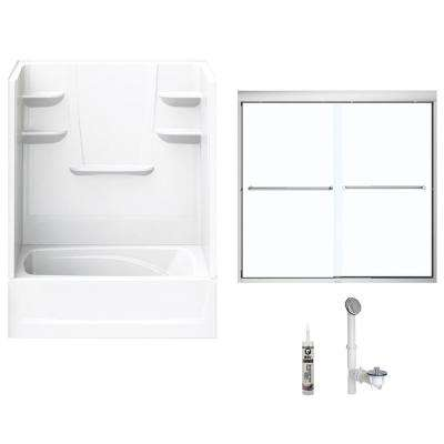 60 in. x 36 in. x 82 in. Bath and Shower Kit with Left-Hand Drain and Door in White and Chrome Hardware