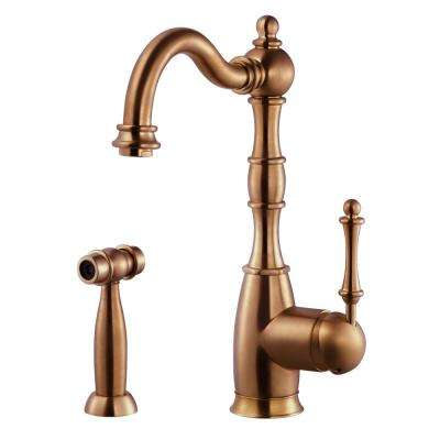 Regal Traditional Single-Handle Standard Kitchen Faucet with Sidespray and CeraDox Technology in Antique Copper