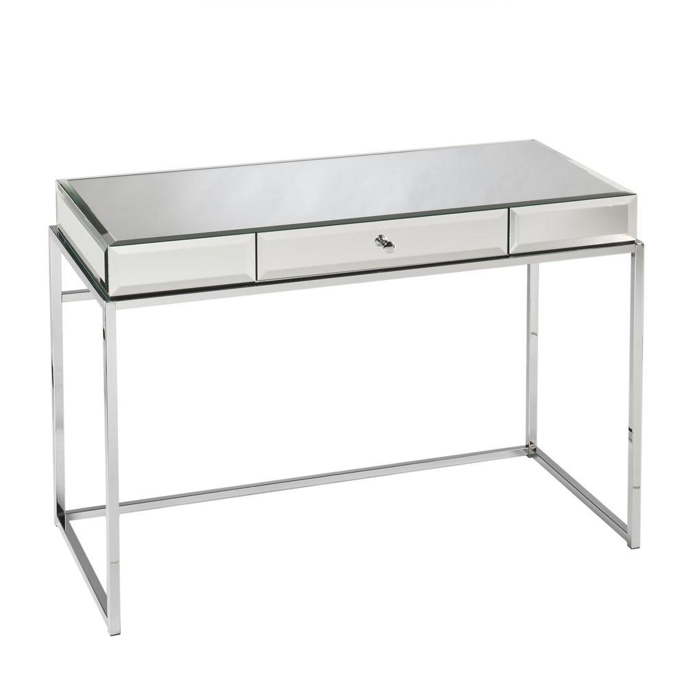 Southern Enterprises Midland Mirrored With Chrome Finish Frame Desk