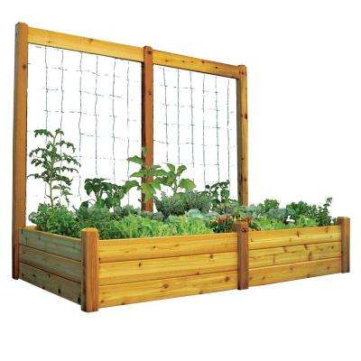 48 in. x 95 in. x 19 in. Raised Garden Bed with 95 in. W x 80 in. H Safe Finish Trellis Kit