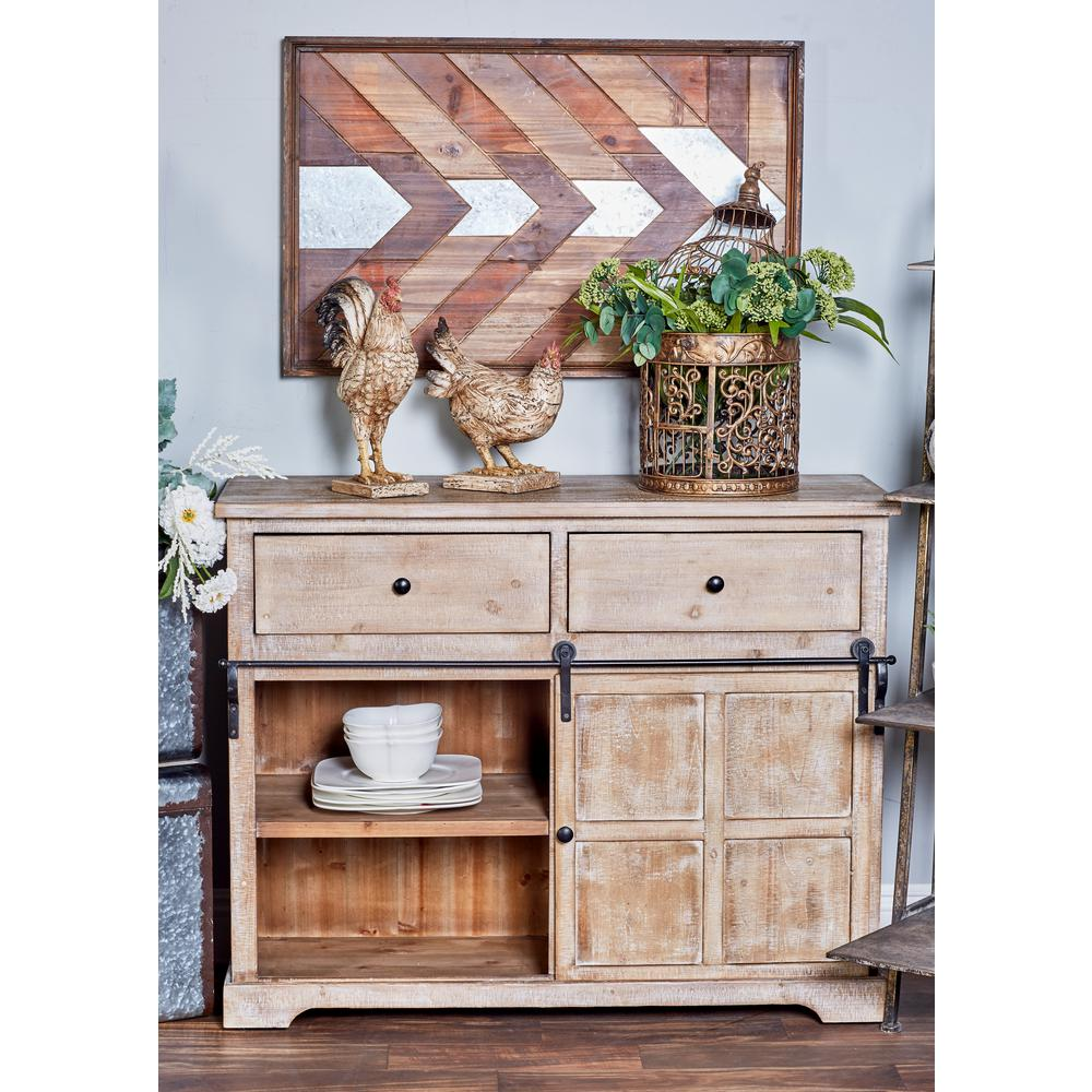 Litton Lane 40 In X 32 In Farmhouse Iron And Natural Wood Cabinet