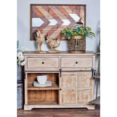 40 in. x 32 in. Farmhouse Iron and Natural Wood Cabinet with Sliding Door, 5 Drawers and Whitewash Finish