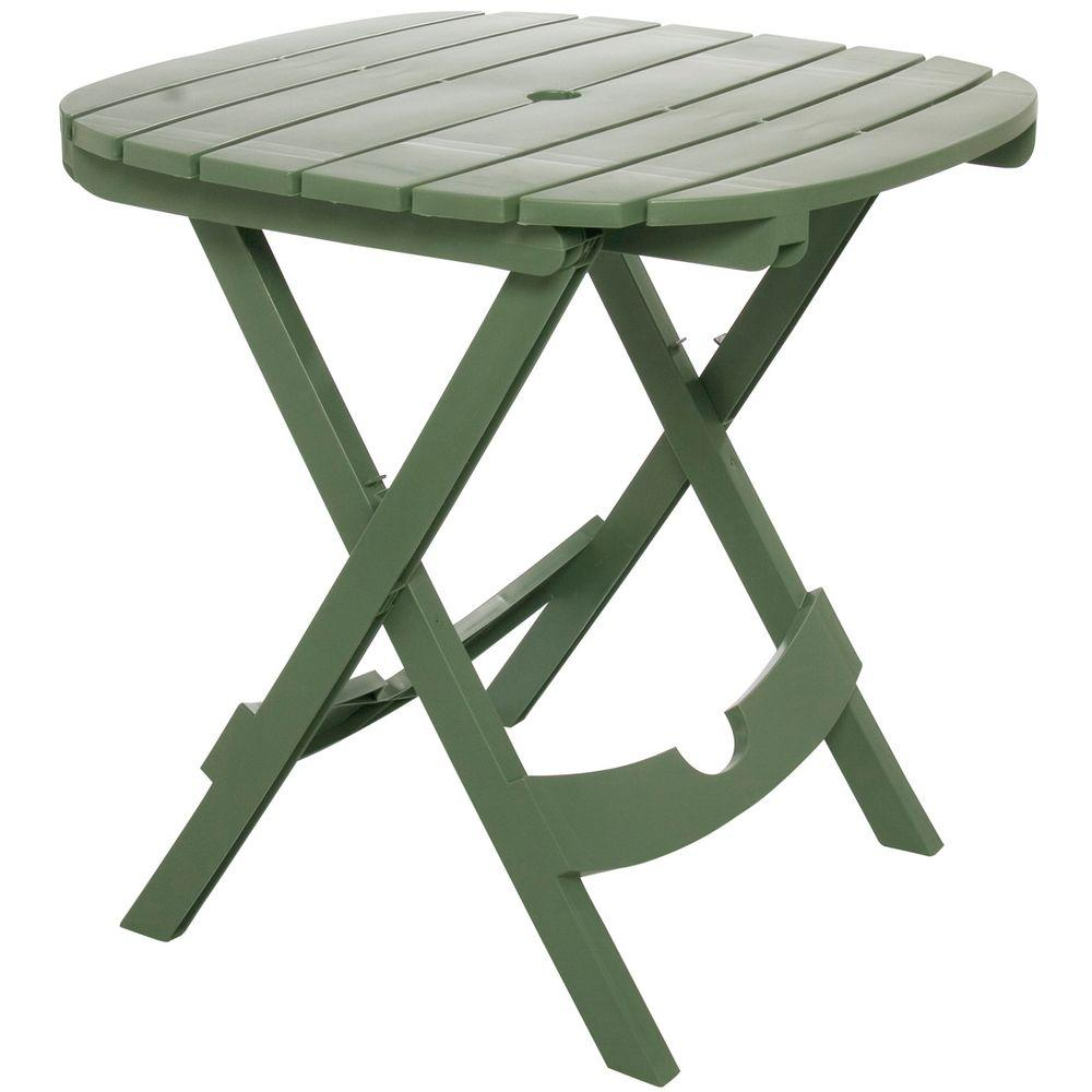 Adams Manufacturing Quik Fold Sage Resin Plastic Outdoor Cafe Table