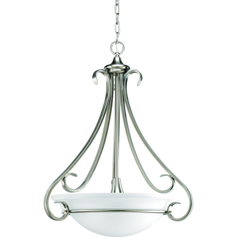 Progress Lighting Torino Collection 3-Light Brushed Nickel Foyer Pendant with Etched Glass