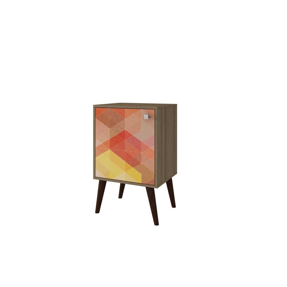 Manhattan Comfort Avesta Oak And Multi Colored Storage Side Table
