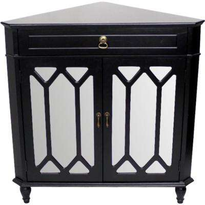 Shelly Assembled Black Wood 31 in. x 31 in. x 17 in. Glass Corner Cabinet with a Drawer
