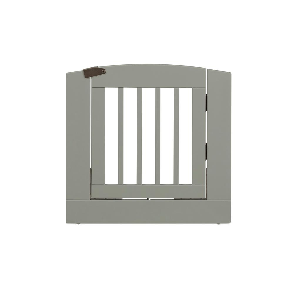 Ruffluv 24 in. H Wood Freestanding Single Panel Grey Pet Gate