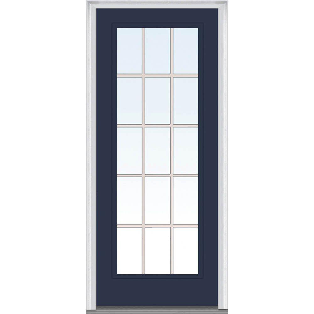 MMI Door 30 in. x 80 in. Grilles Between Glass Right-Hand Inswing Full Lite Clear Painted Steel Prehung Front Door