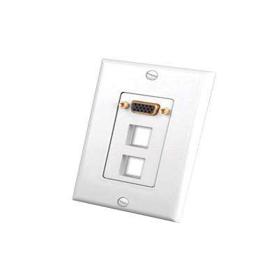 1-Gang S-VGA Wall Plate with 2 Keystone Openings - White