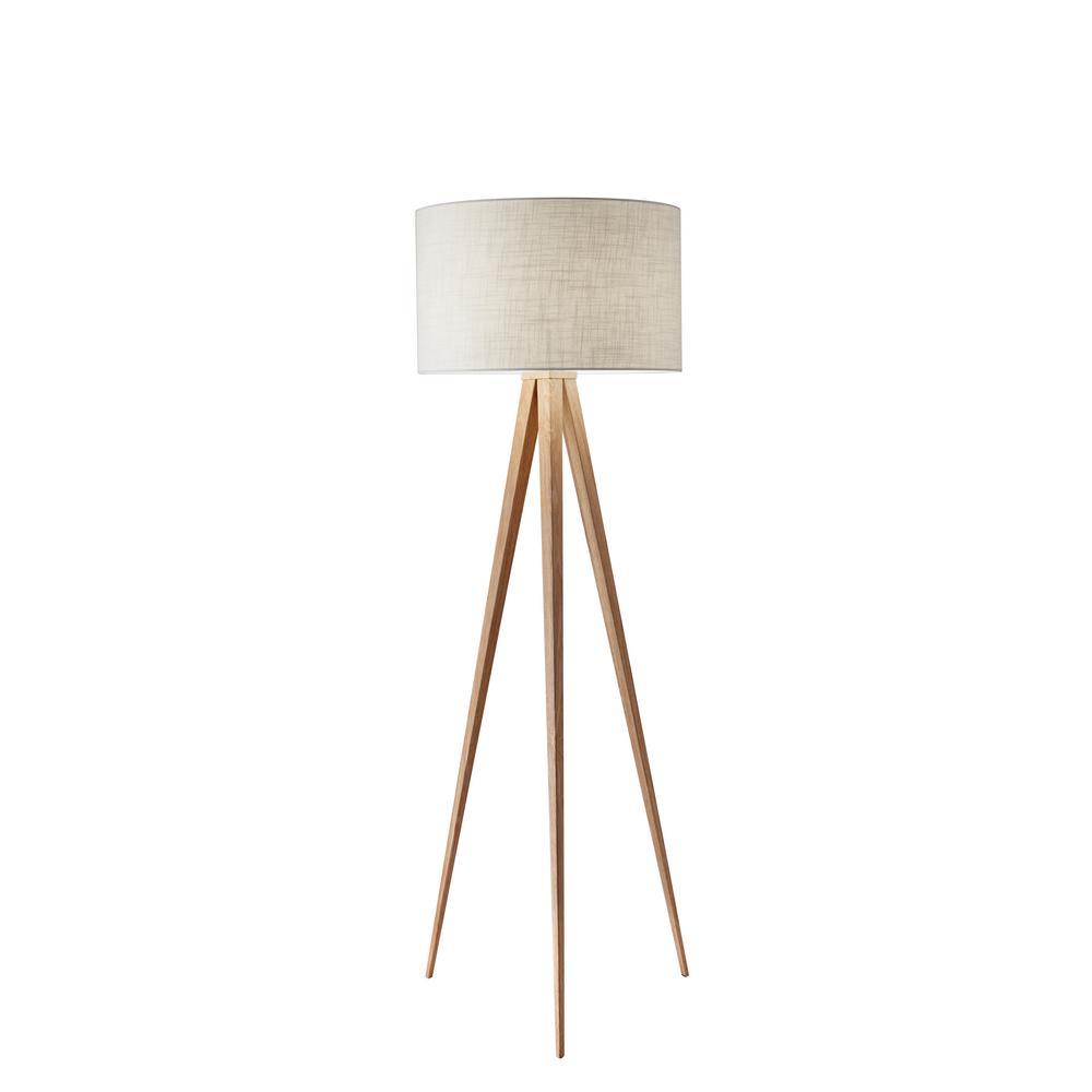 Director 60 in. Oak Wood Floor Lamp
