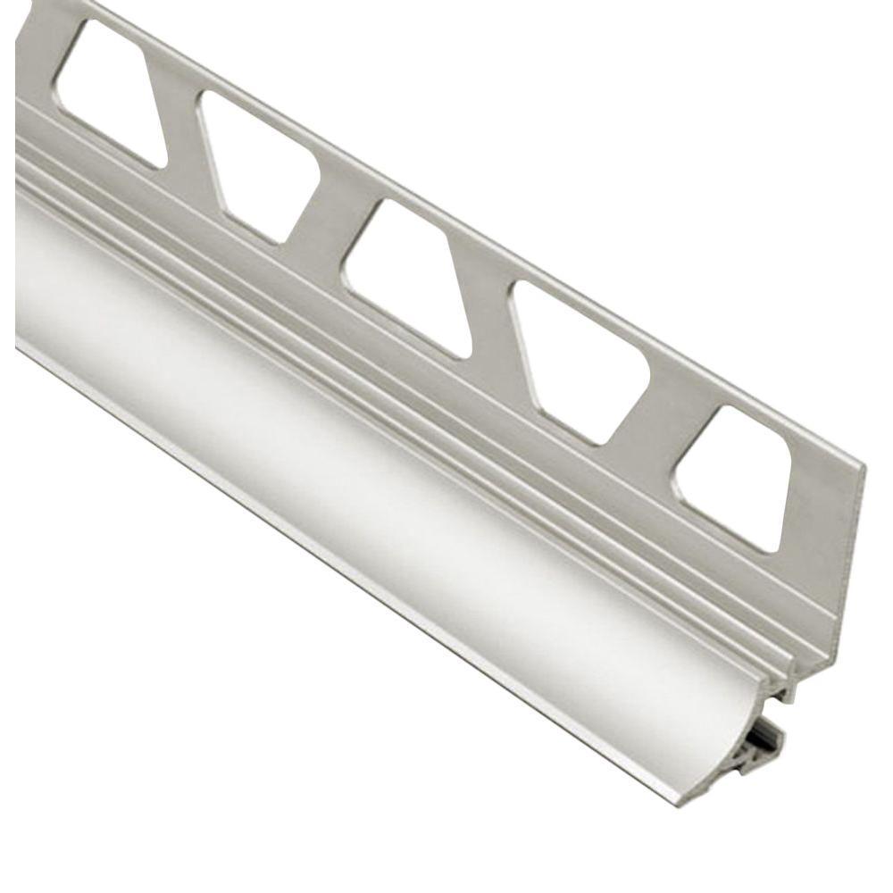 Dilex-AHKA Satin Nickel Anodized Aluminum 5/16 in. x 8 ft. 2-1/2 in. Metal Cove-Shaped Tile Edging Trim