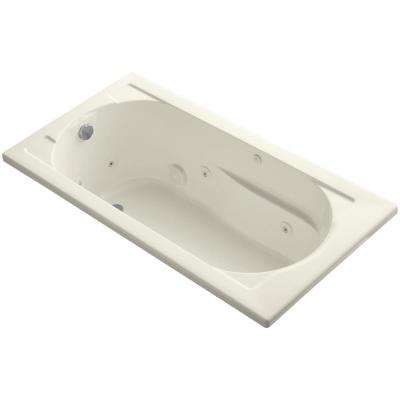 Devonshire 5 ft. Acrylic Reversible Drain Rectangular Drop-In Whirlpool Bathtub in Biscuit