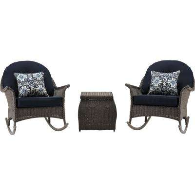 Saros 3-Piece Rocking Steel Outdoor Patio Conversation Set with Navy Cushions