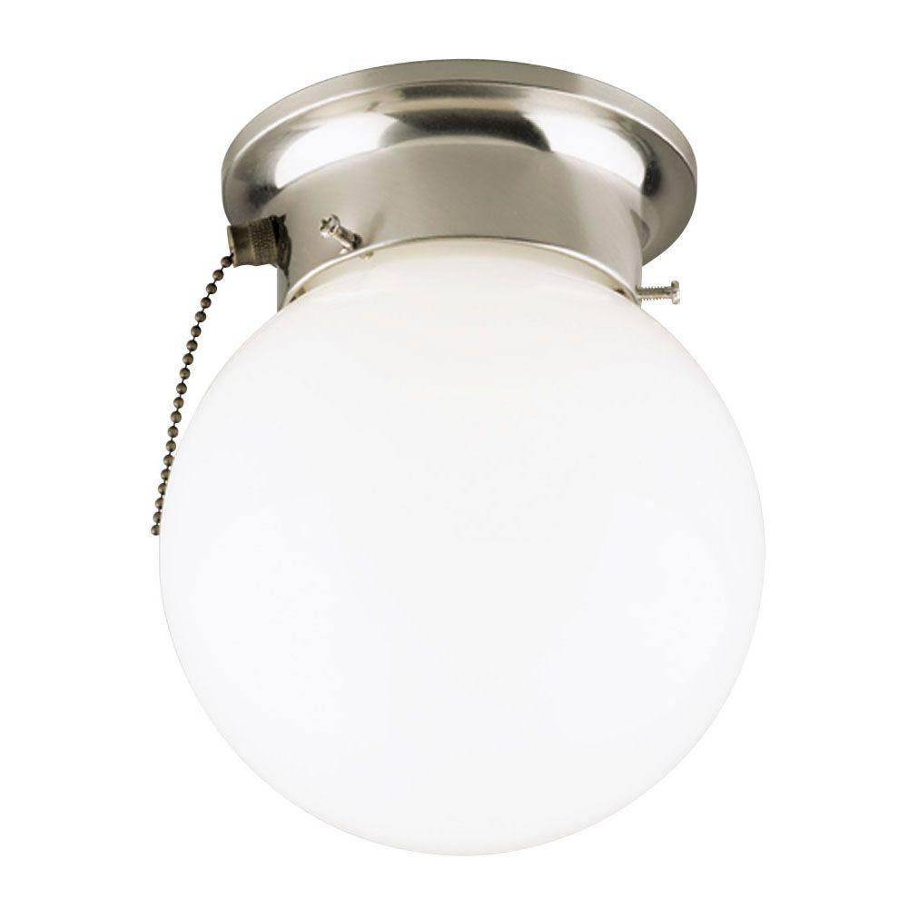 Westinghouse 1 Light Brushed Nickel Interior Ceiling Flushmount With Pull Chain And White Gl Globe