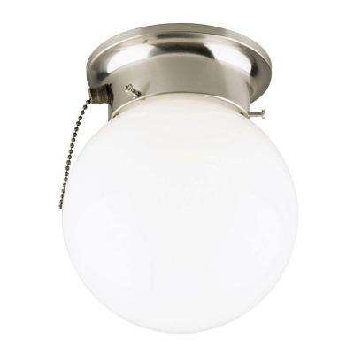 1-Light Brushed Nickel Interior Ceiling Flushmount with Pull Chain and White Glass Globe