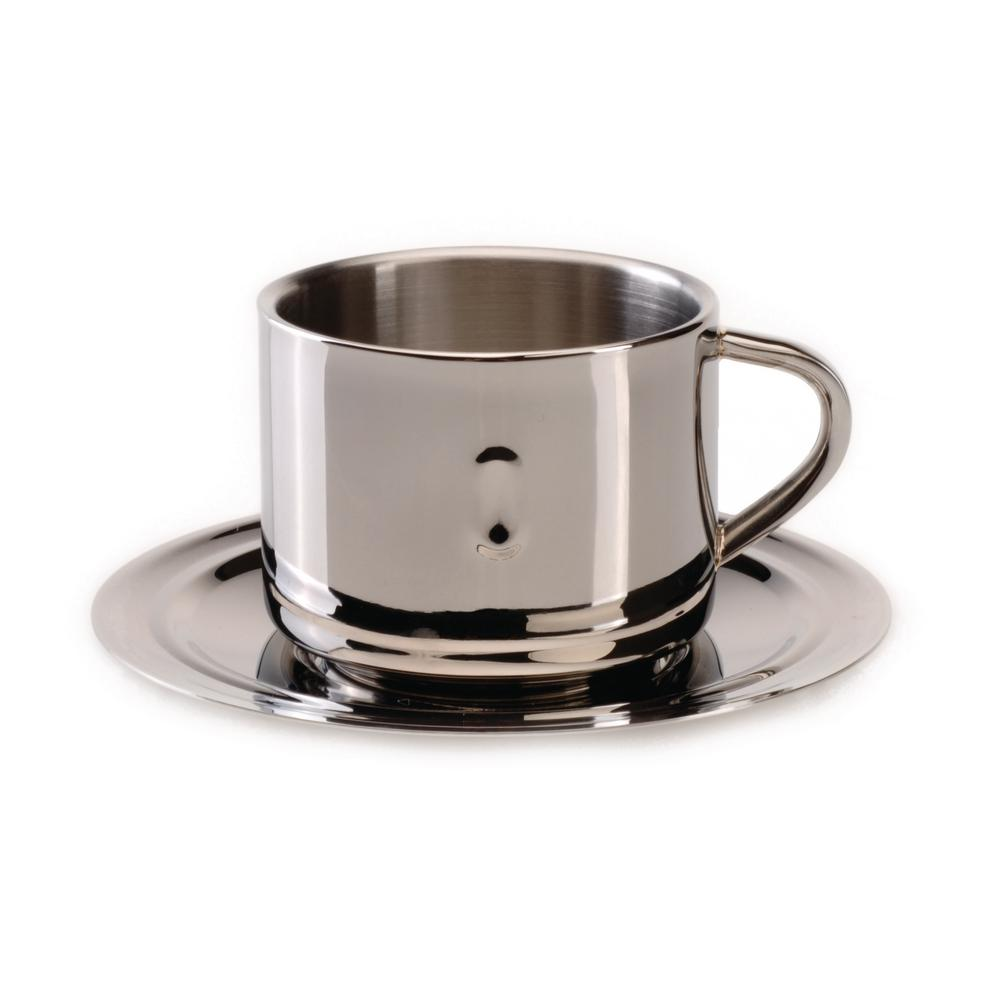 Straight Line 3 oz. Stainless Steel Coffee Cup and Saucer (Set