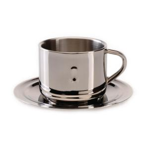Click here to buy BergHOFF Straight Line 3 oz. Stainless Steel Coffee Cup and Saucer (Set of 2) by BergHOFF.