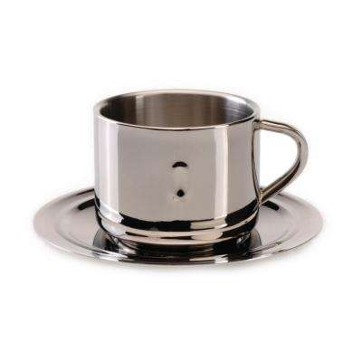 Straight Line 3 oz. Stainless Steel Coffee Cup and Saucer (Set of 2)