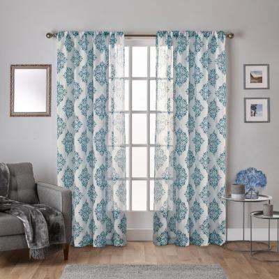 Nagano 54 in. W x 84 in. L Sheer Rod Pocket Top Curtain Panel in Teal (2 Panels)